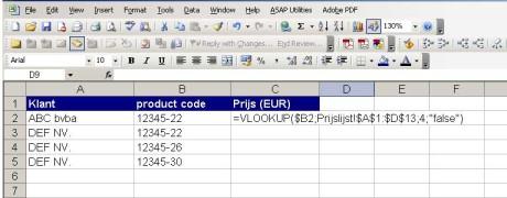 klanten sheet - formule